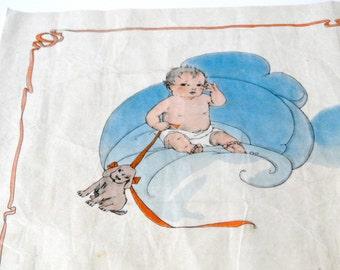 Vintage 1930 Watercolor Woven Tissue Earnshaw Knitting Co // Art Deco Nursery Baby Decor  // Old Paper Ephemera Collectible