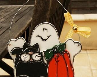 Ghost, black cat and pumpkin for Halloween - Halloween ornement- Halloween sign