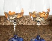 Hand Painted Wine Glasses - Goldfish Glasses - Set of 2 Hand Painted Wine Glasses