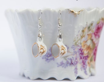 Cute earrings with small teacups, gold rim and flowers, miniature porcelain, fashion dangle earrings, silver plated, miniature tea cups