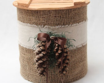 Wedding Card Basket: Country Burlap and Linen