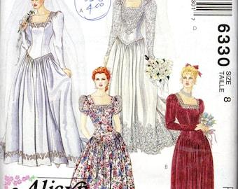"Wedding Dress, Bridal Gown, Bridesmaids Dress Pattern - Size 8, Bust 31 1/2"" - McCall's 6330 uncut"