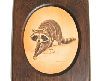 Vintage Raccoon Print, Childrens' Room, Set of Four Animals, Oval Wooden Frame, by Ruanne Manning, Listed Artist, Circa 1971
