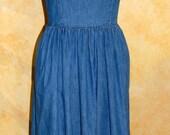 Festival Style Boho Vintage Denim Maxi Dress - Esprit 1980s (M/L)