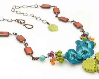 Turquoise and Orange Flower Bib Necklace,  Twisted Wire Vine Necklace with Cluster of Flowers, Rustic Nature Jewelry for Rustic Wedding