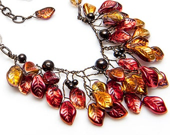 Autumn Red Glass Leaf Statement Necklace, Nature Inspired Rusty Red Bib Necklace with leaves, Fall Jewelry, Rustic Wedding Jewelry, N302