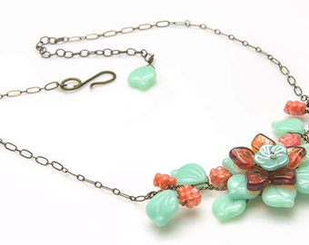 Mint and Orange Flower Necklace, Beaded Necklace, Leaf Necklace, Twisted Wire Nature Jewelry, Vine Necklace