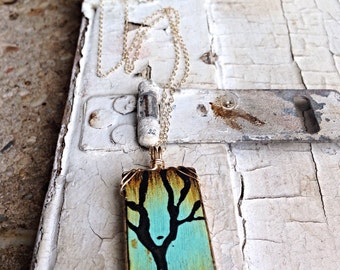 "Painted Wood Tree Necklace - 14k Yellow Gold Filled and Wood - Hand Painted - ""Seasons of Change"" - Choose Your Season"