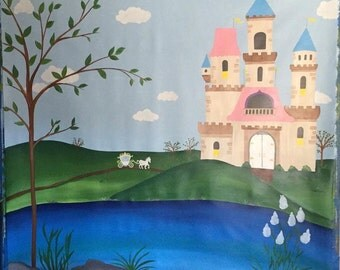 Princess Mural - Canvas Mural - Princess Painting - Princess Party Decor - Princess Room Decor - Girl Room Decor - Castle Mural - Girl Mural