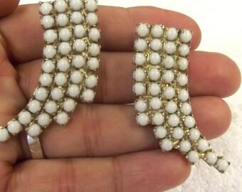 Vintage Earrings, Milk Glass Jewelry, Clips, Mid-Century, Costume Jewelry