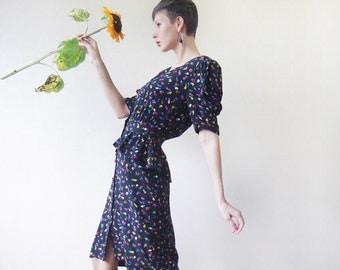 ESCADA pure silk black floral short sleeve peplum midi dress M