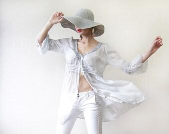 Sheer light grey pure silk bohemian long duster blouse shirt