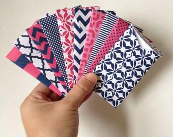 Set of 10 // Gift Card Holders // Mini Envelopes //Gift Card Envelopes // Gift Envelopes // Pink & Navy Envelopes // Pocket Letter Envelopes