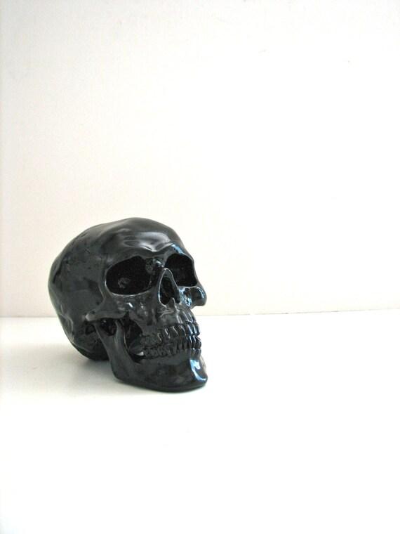 Skull Head in black: Mr. Smiley //unique gift // black skull // skeleton // office decor // faux skull // fake skull // Halloween decor //