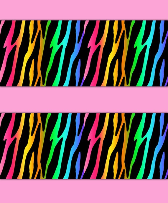 Rainbow zebra wallpaper border wall decal safari animal print like this item voltagebd Choice Image