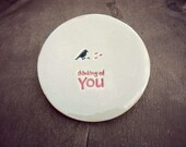 Bird Ring Holder Thinking of You Plate Inspirational Little Bird Ceramic Ring Dish Ivory Ring Pillow Custom Ring Bearer Bowl Pottery