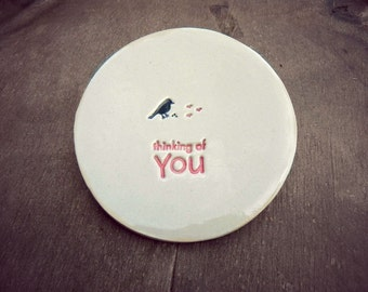Bird Ring Holder Thinking of You Plate Inspirational Little Bird Ceramic Ring Dish Ivory Ring Pillow Custom Ring Bearer Bowl Pottery
