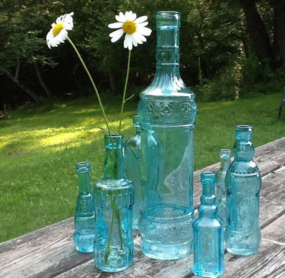 7 Blue Bottles Blue Centerpiece Aqua Glass Bottles Wedding