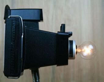 Funky Modern Upcycled - Camera Lamp - Polaroid Square Shooter 2 - Black on Black
