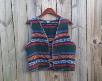 S M L Small Medium Large Vintage UNISEX 80s 90s Textured Colorful Southwest Ethnic Hippie Festival Western Hipster Indie Alternative Vest