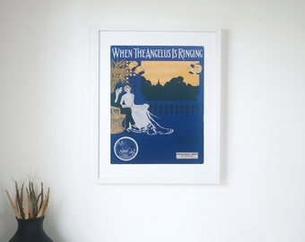 """When the Angelus is Ringing - Vintage Piano Sheet Music Print - 16"""" x 20"""" Framed  FREE SHIPPING"""