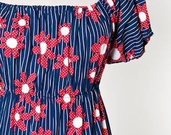 Vintage 1960's peasant dress Mod hippy boho Daisy Groovy 6Ts   L/XL