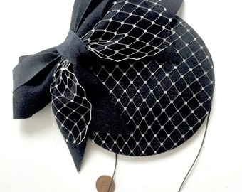 Black Wool Felt Fascinator With Birdcage Netting