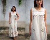 Embroidery Dress, Vintage Remade Dress, Off-Shoulder Dress, Bohemian Dress, Maxi Dress, Peasant Dress, Lace Dress, Lace Embroidery Dress