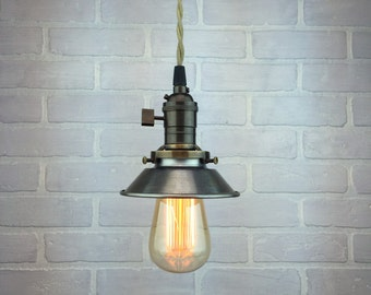 Industrial Pendant Light - Edison Bulb Pendant - Metal Shade - Hanging Lamp - Steampunk