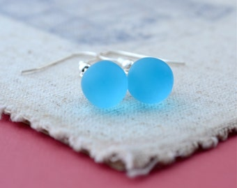 Aqua Blue Earrings, Simple Drop Earrings, Blue Dangle Earrings, Teardrop Earrings, Glass Bead Earrings, Gift for Women, Bridesmaid Jewelry