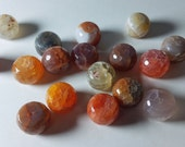 Orange Red Yellow Brown Gray Mixed Colored Dragon Vein Crackled Agate Faceted Rondelle Beads 15mm - 16mm