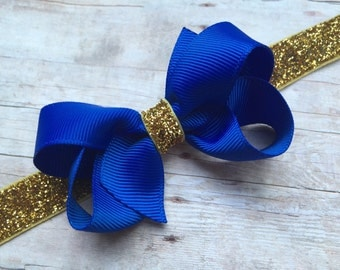 Royal blue boutique bow on gold glitter headband - gold baby headband, gold headband, blue bow headband