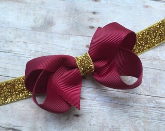 Burgundy & gold baby headband - gold baby headband, gold headband, burgundy bow headband, baby headbands, Christmas headband, baby bows
