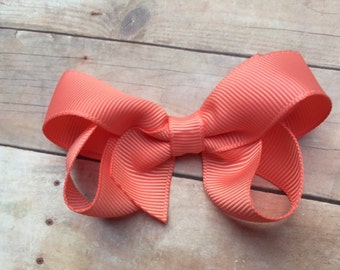 3 inch light coral hair bow - light coral hair bow, coral bow