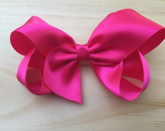 Hot pink satin boutique bow  - hot pink satin hair bow, 4 inch bow, satin bow