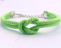 Adjustable Nautical Rope Knot Bracelet Green Tie The Knot Bracelet Polyester