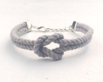 Adjustable Nautical Twisted Rope Knot Bracelet Light Grey Tie The Knot  Bracelet Twist Cord