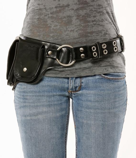 hip pack leather utility belt black chrome unique