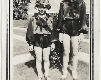 Old Photo 2 Girls wearing Costumes 1920s Photograph snapshot vintage
