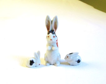 Miniature Rabbits - Family Figurine Set - Vintage Japan Bone China