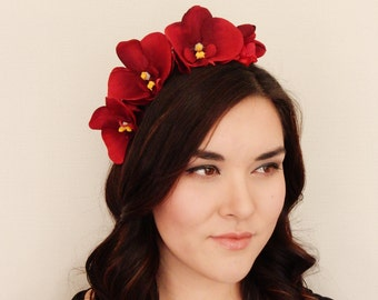 Red Orchid Hydrangea Flower Crown - floral headband, floral crown, flower crown, floral wreath, fascinator, festival crown