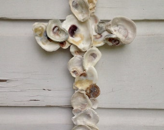 Oyster Shell Cross on Reclaimed Wood/Beach Wedding Cross/Seashell Home Decor