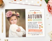 SALE Fall Mini Session Template, Autumn Mini Session Marketing Board, Fall Photography Marketing Template Advertisement - AD196