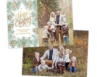 Christmas Card Template for Photographers, Christmas Photo Card Template for Photoshop, Holiday Card Templates, Photography Templates HC265