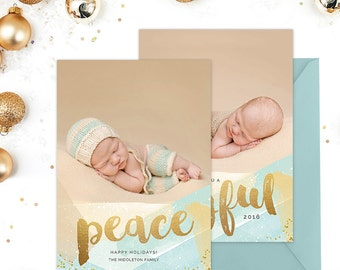 Christmas Card Template for Photographers, Christmas Card Template for Photoshop, Holiday Card Templates, Modern Gold Blue Watercolor HC279