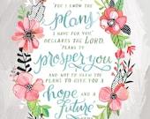 Jeremiah 29:11 - Art Print - Makewells Bible Verse Illustration