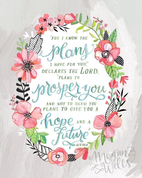 Jeremiah 29:11 Art Print Makewells Bible Verse
