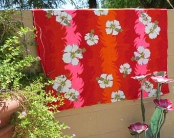Vintage Hawaiian Fabric - Hawaiian Barkcloth - Tropical Fabric - Orange Hawaiian Fabric - Free Shipping - Floral Fabric