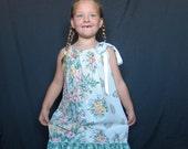 Classic Pillowcase Dress Size 6 8 Green Floral Print Pillow Case Dress Girls Summer Dress Cotton Summer Dress Party Dress Girls Boho Dress