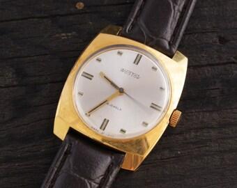 Vintage Wostok Vostok Boctok mens watch, gold plated russian watch, vintage men's watch, soviet mechanical wrist watch, cccp ussr